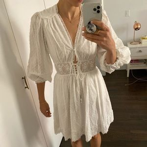 Zimmermann White Lace Puff Sleeve Dress Sz 1
